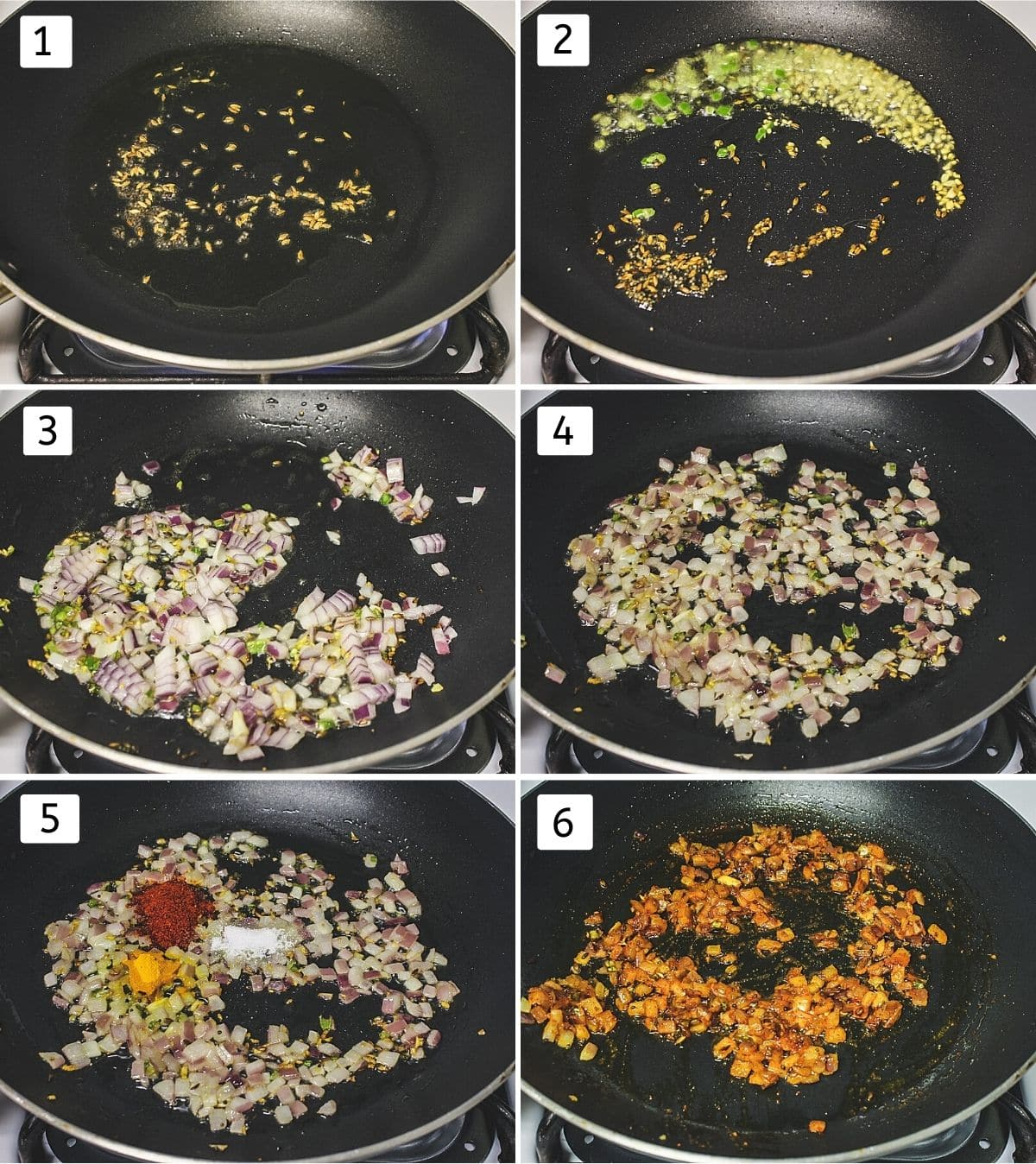 Collage of 6 steps showing mustard, cumin seeds in oil, ginger, chili added, onions added, cooked, adding spices, mixed.