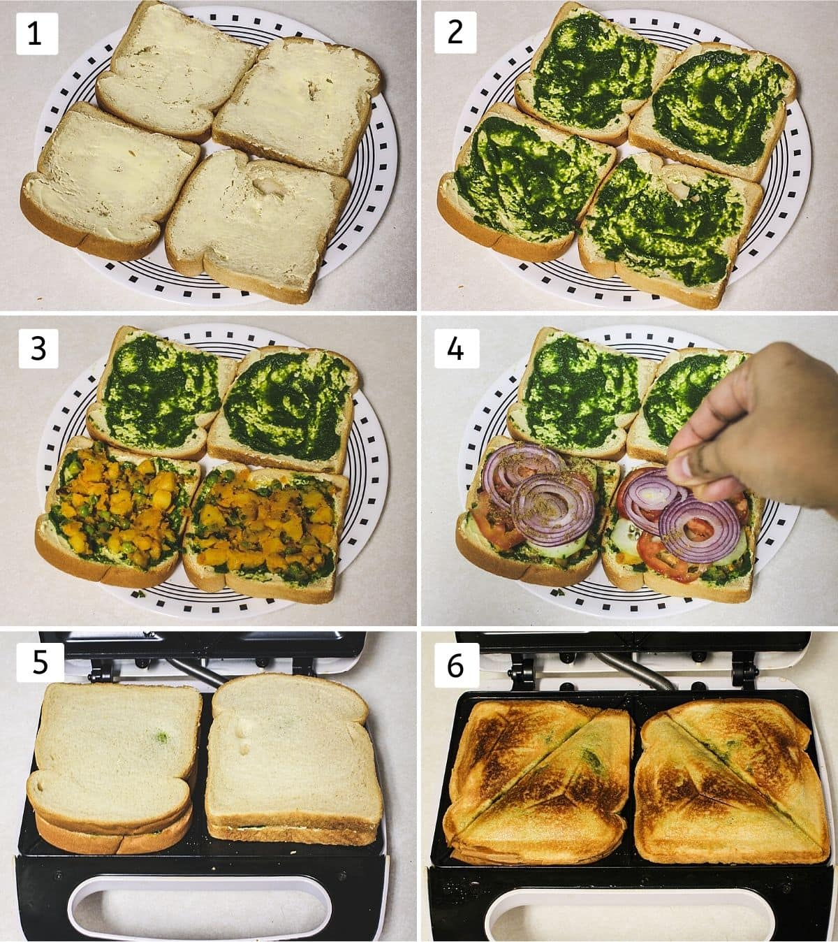 Collage of 6 steps showing applying butter on bread, apply chutney, spread masala, veggies, toast in toaster.