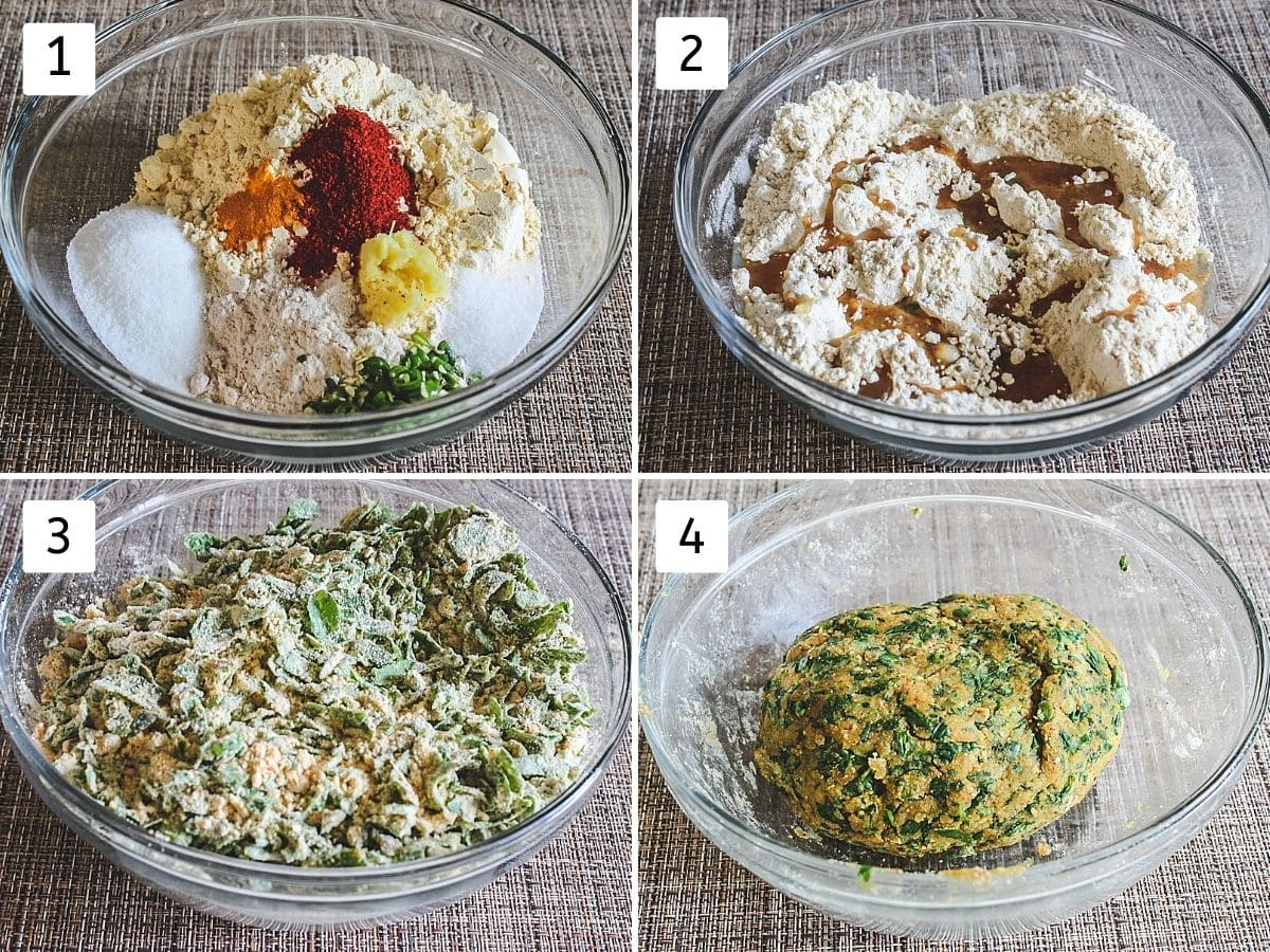 Collage of 4 steps showing dry ingredients in a bowl, adding oil, adding methi and ready dough.