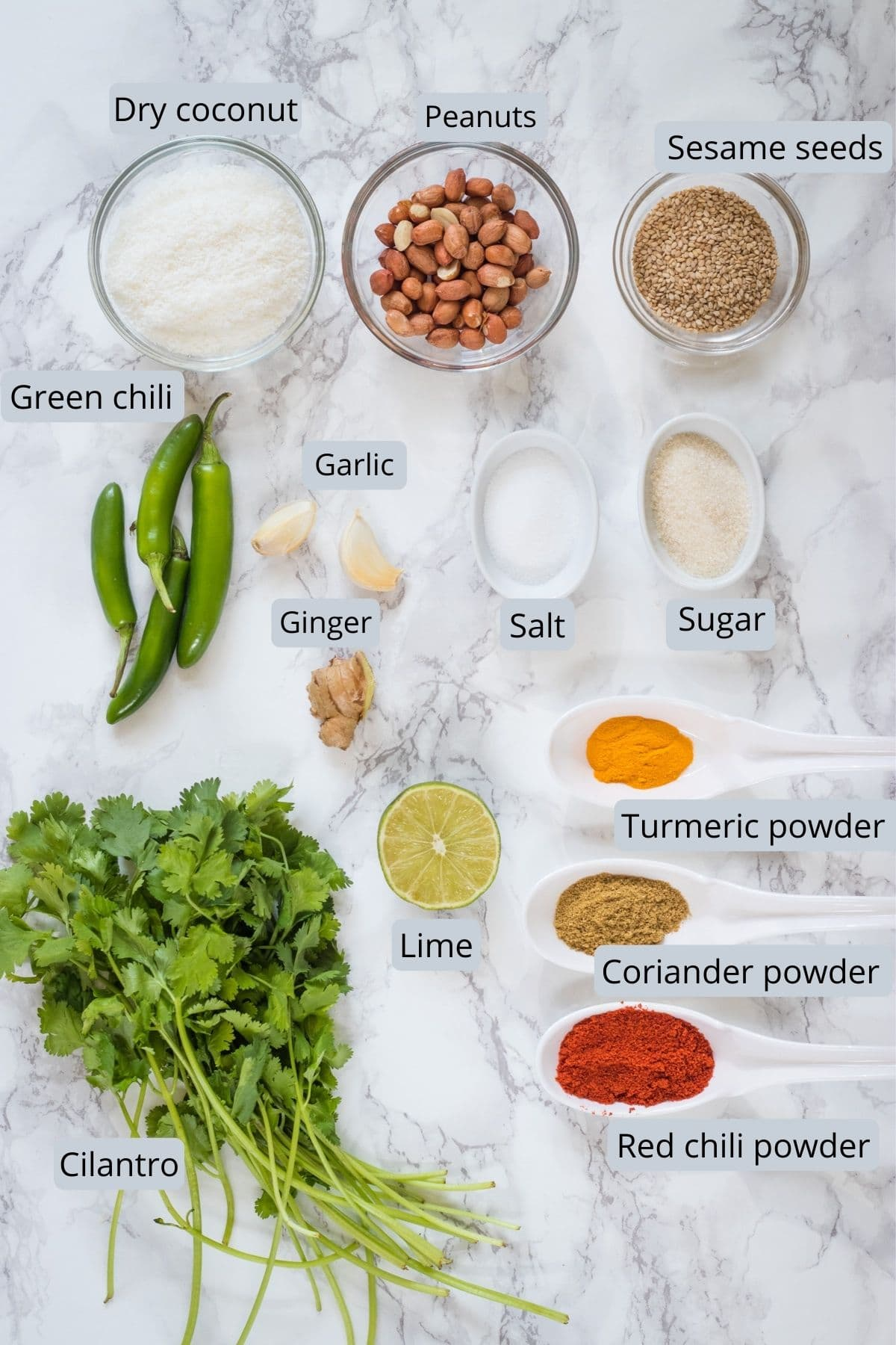 Ingredients used in green masala includes coconut, peanuts, sesame, chilies, ginger, garlic, cilantro, salt, sugar and spices.