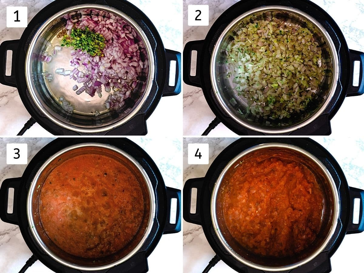Collage of 4 steps showing cooking onion, adding tomato puree and simmering.