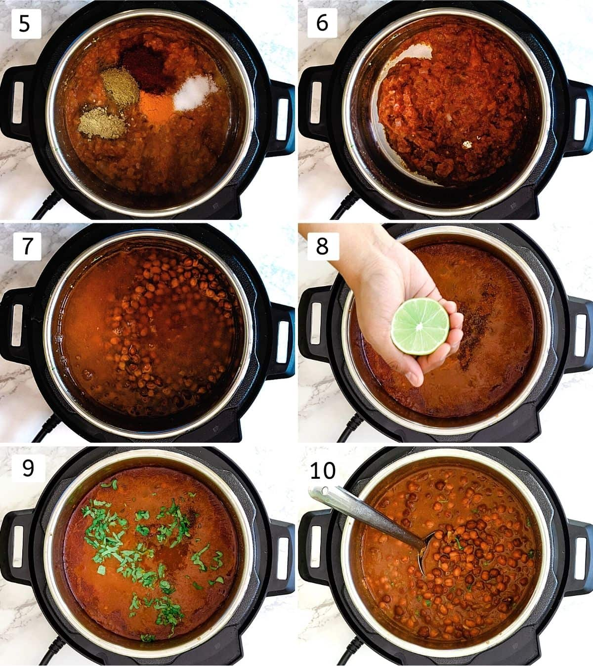 Collage of 6 steps showing adding spices, mixed, adding soaked chana, water, adding lime juice, cilantro and ready chana.
