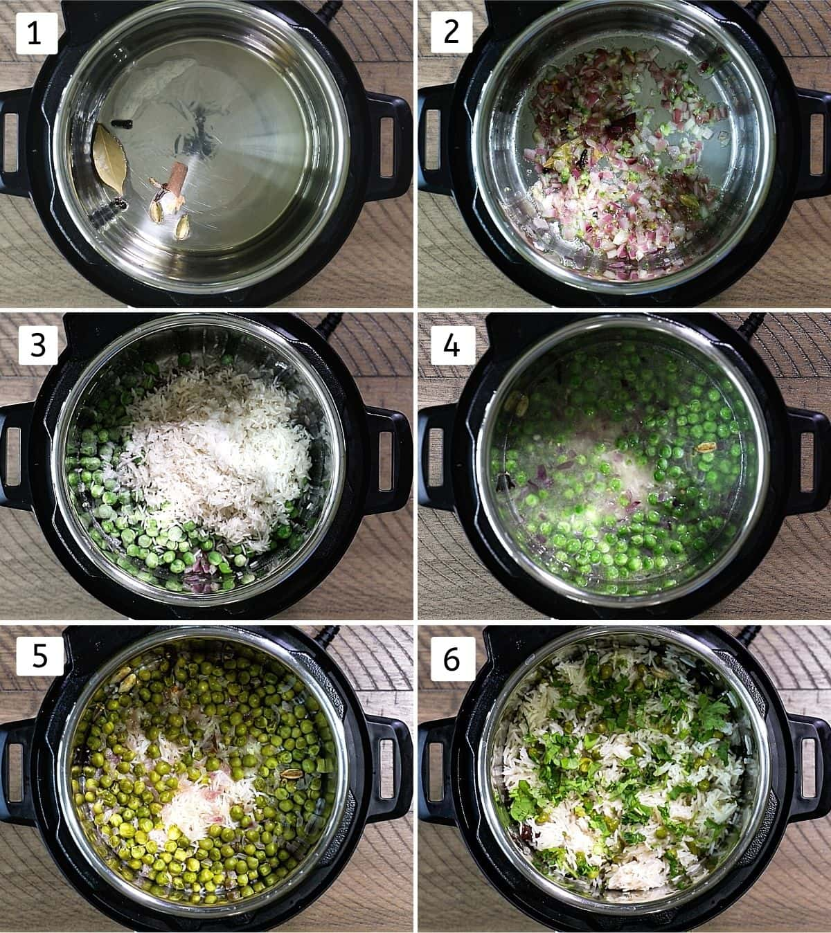 Collage of 6 steps showing peas pulao made in instant pot.