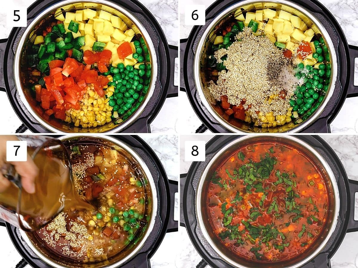 Collage of 4 steps showing adding veggies, quinoa, vegetable stock, and cooked soup.