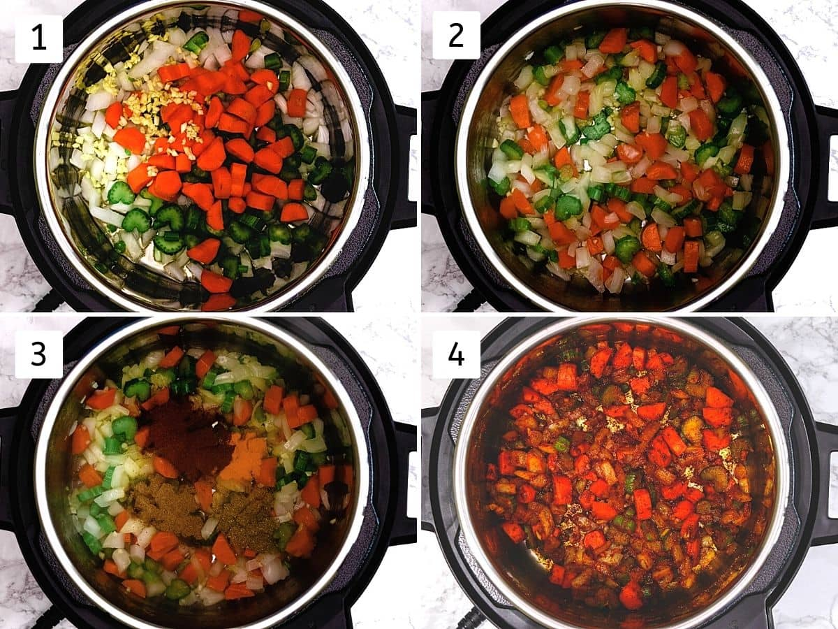 Collage of 4 steps showing cooking onion, celery, carrot, adding and mixing spices.