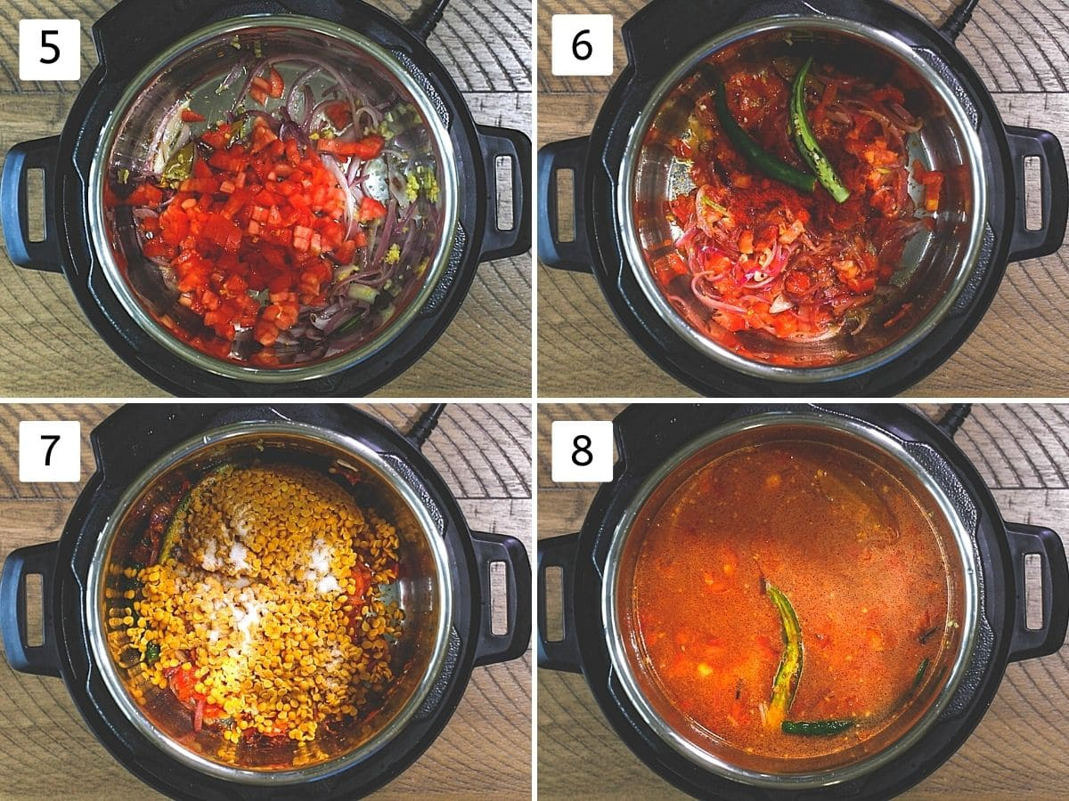 Collage of 4 steps showing cooking tomato, adding spices, toor dal and water in instant pot.