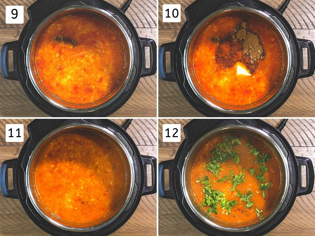 Collage of 4 steps showing cooked dal, adding amchur, butter, garam masala and cilantro.
