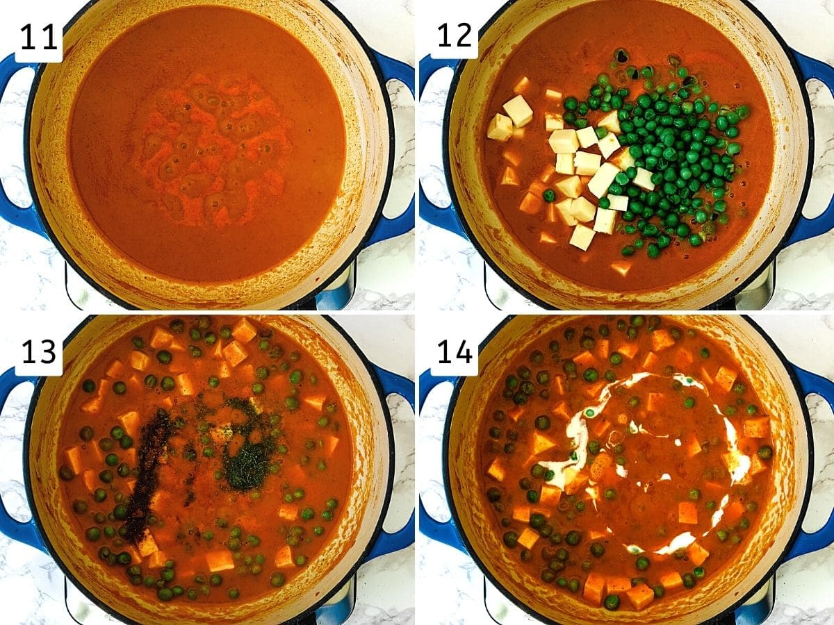 Collage of 4 steps showing simmering gravy, adding peas & paneer, adding garam masala & kasoori methi, adding cream.