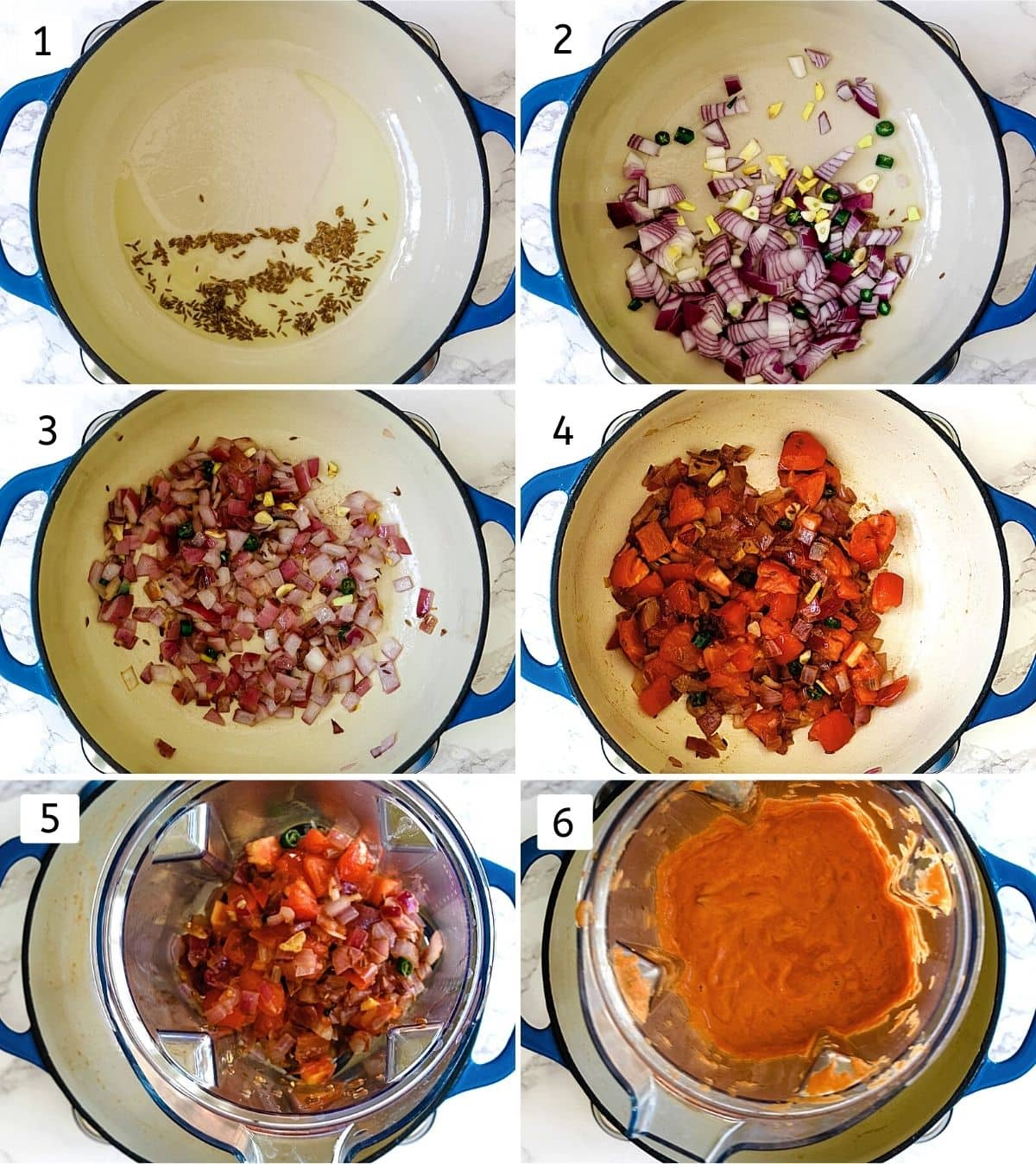 collage of 6 steps showing cooking onion, tomato, ginger, garlic, chili and ground into paste.