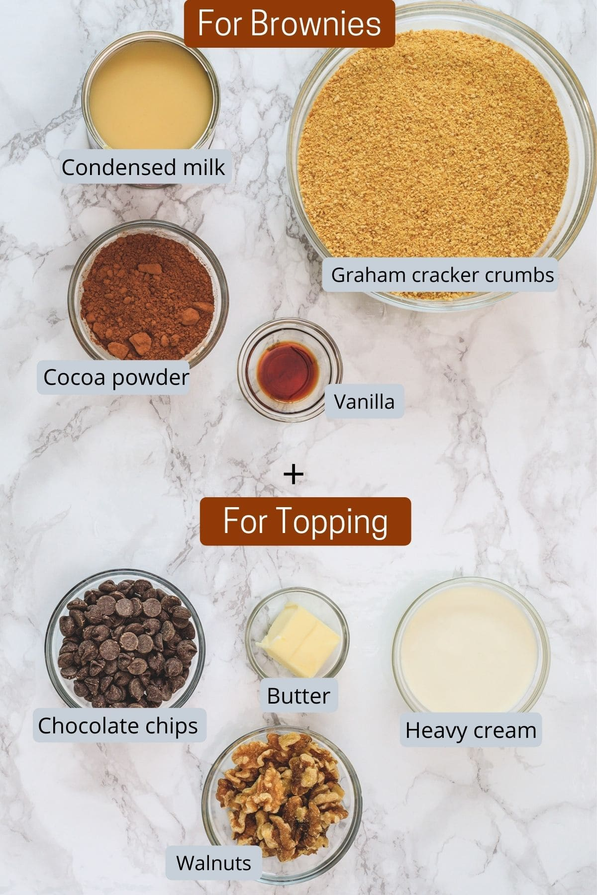 Ingredients used in no bake brownies & topping includes condensed milk, cocoa powder, vanilla, cracker crumbs, cream, chocolate chips, butter, walnuts.
