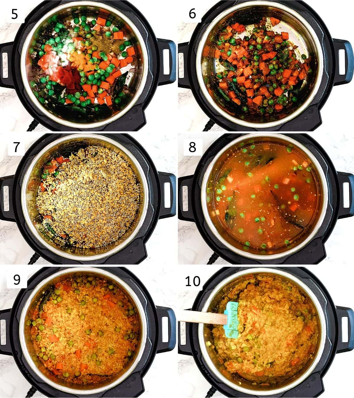 Collage of 6 steps showing adding veggies, spices, mixing, adding quinoa, lentils, water and cooked khichdi.