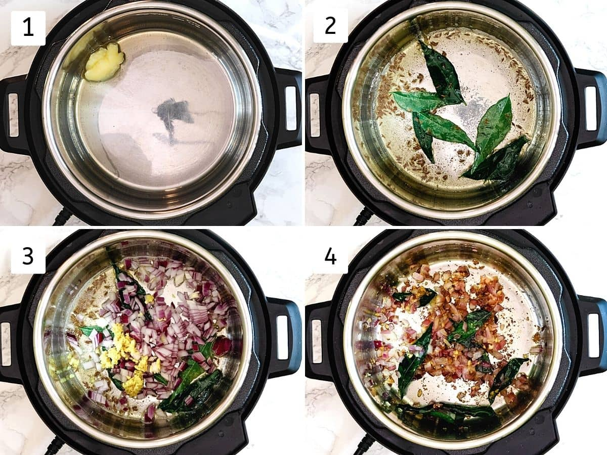 Collage of 4 steps showing adding ghee, tempering cumin, curry leaves, cooking onion.
