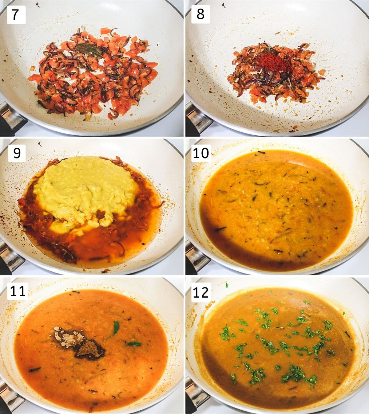 collage of 6 steps showing cooking tomato, adding spices, boiled dal, simmering and adding cilantro.