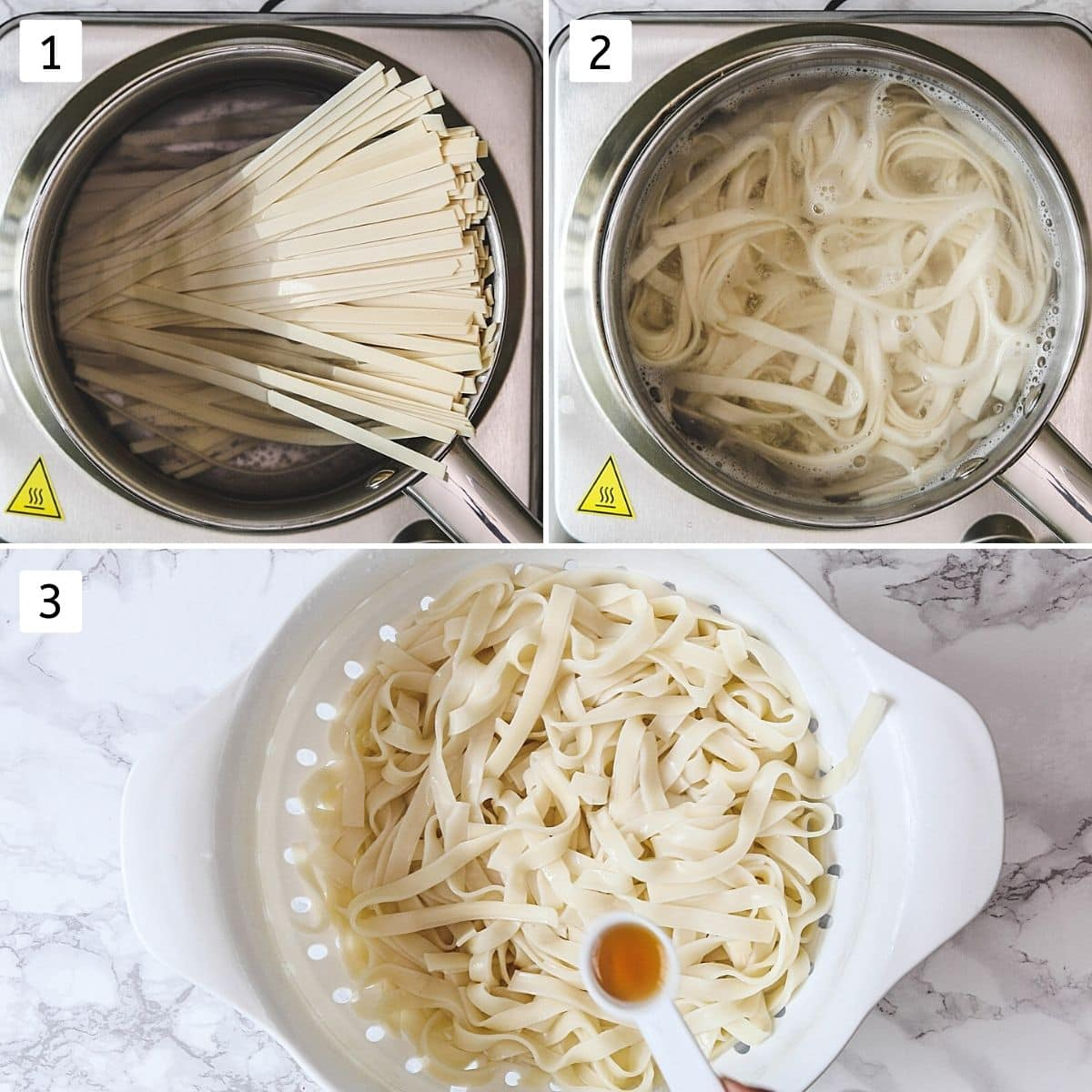 Collage of 3 steps showing adding noodles to boiling water, cooking noodles, adding oil to cooked noodles.