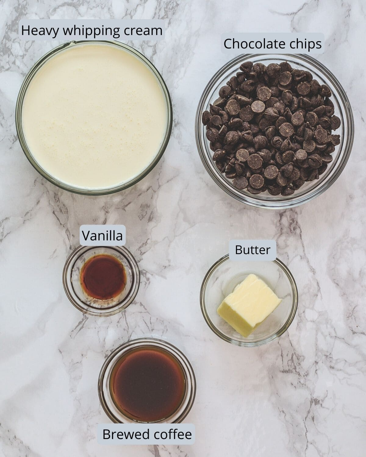 Ingredients used to make chocolate mousse includes heavy cream, chocolate chips, vanilla, brewed coffee, unsalted butter.