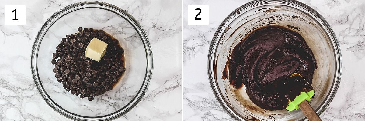 Collage of 2 steps showing chocolate chips, butter, coffee in a bowl and melted chocolate mixture.
