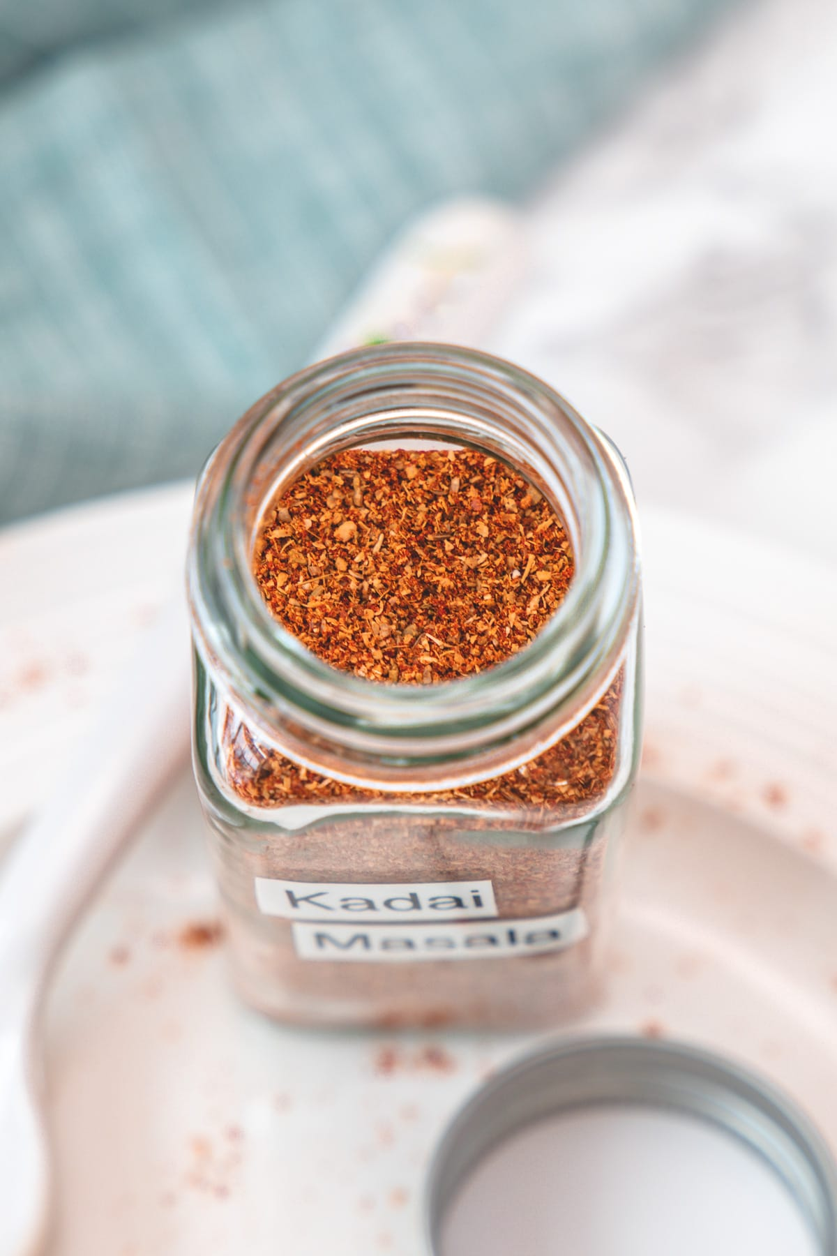 Showing the close up of kadai masala in the spice container.