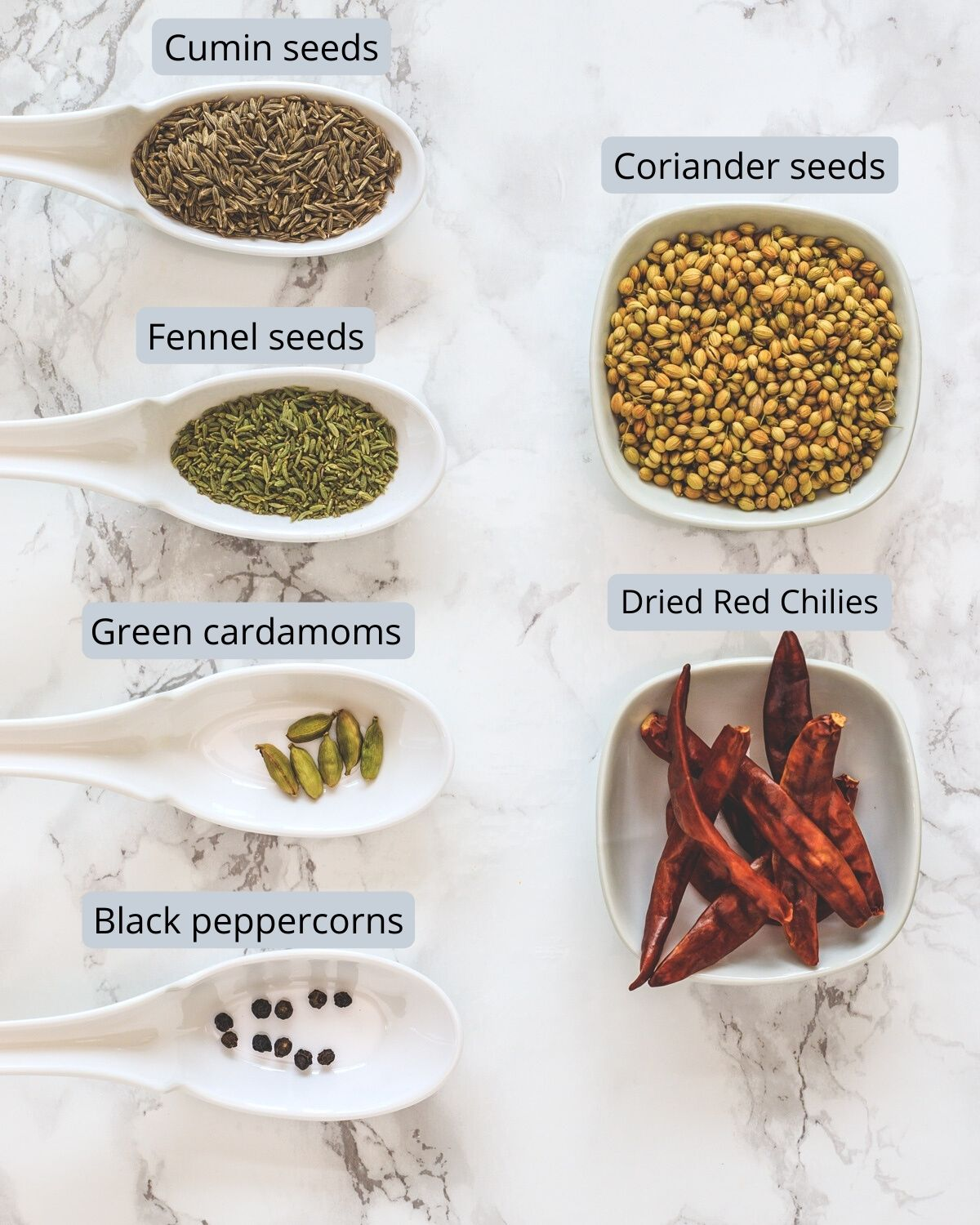 Ingredients used in kadai masala includes coriander seeds, dried chilies, cumin, fennel seeds, peppercorns, cardamoms.