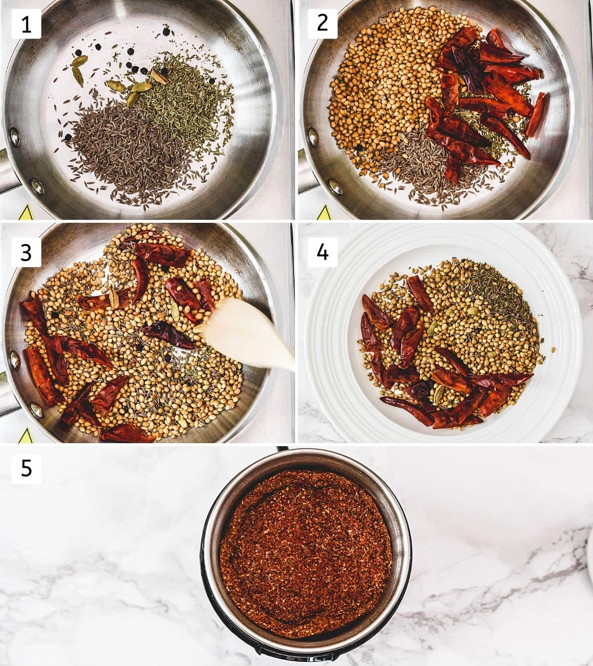 Collage of steps showing dry roasting spices, removing to a plate and ground into spice grinder.