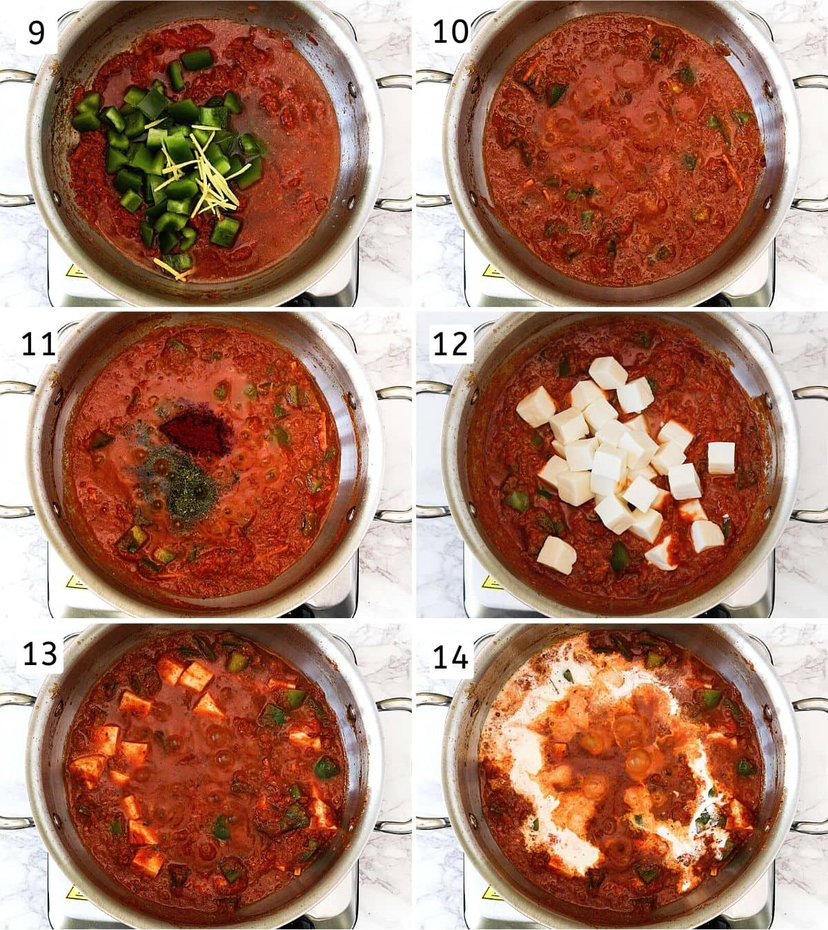 Collage of 6 steps showing adding peppers, ginger, simmering, adding spices, adding paneer, mixed, adding cream.