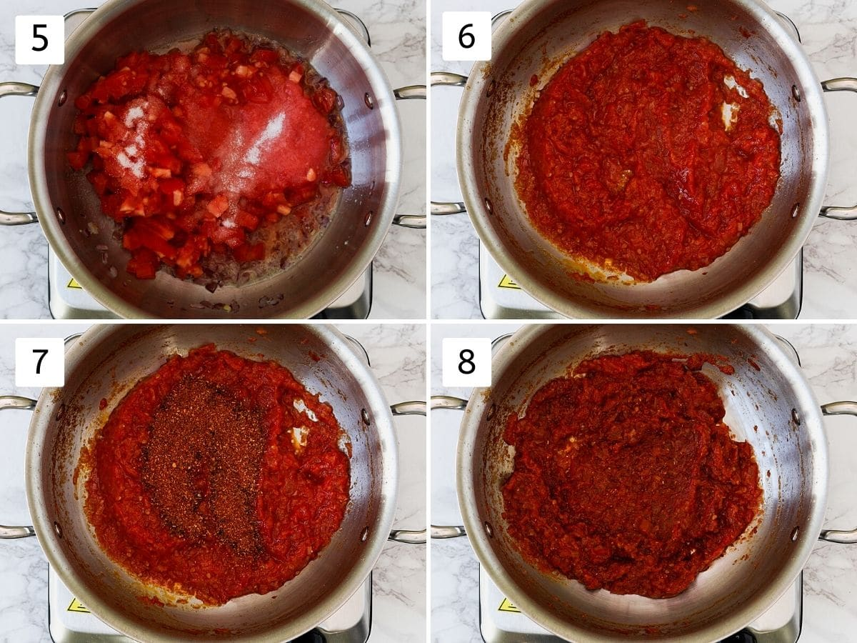 Collage of 4 steps showing adding tomatoes, cooked, adding masala, mixed.