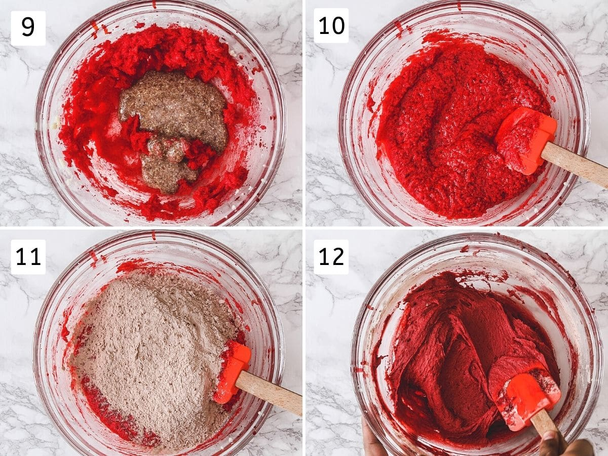 Collage of 4 steps showing adding flax eggs, mixed, adding flour mixture, mixed with a spatula.