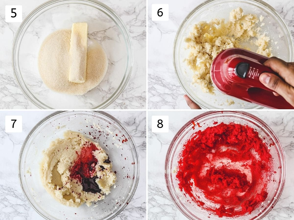 Collage of 4 steps showing butter, sugar in a bowl, beating, adding food color and mixed.