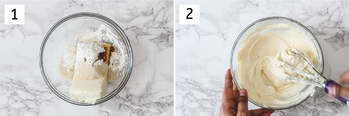 Collage of 2 steps showing cheesecake ingredients in a bowl and whisked until smooth.