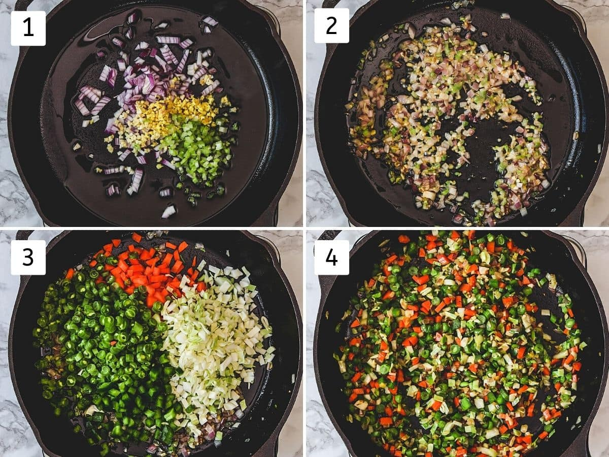 collage of 4 steps showing onion, ginger, garlic in the oil, cooked, added veggies and stir fried.