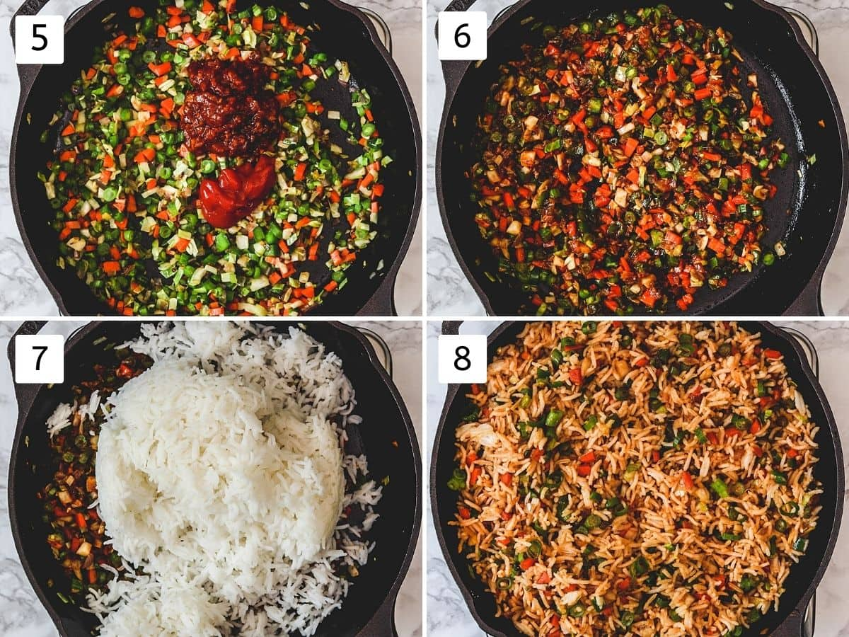Collage of 4 steps showing adding sauces, mixed, adding rice, mixed.