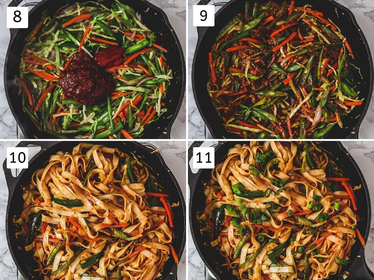 Collage of 4 steps showing adding sauces, mixed, noodles tossed, garnished with green onion.