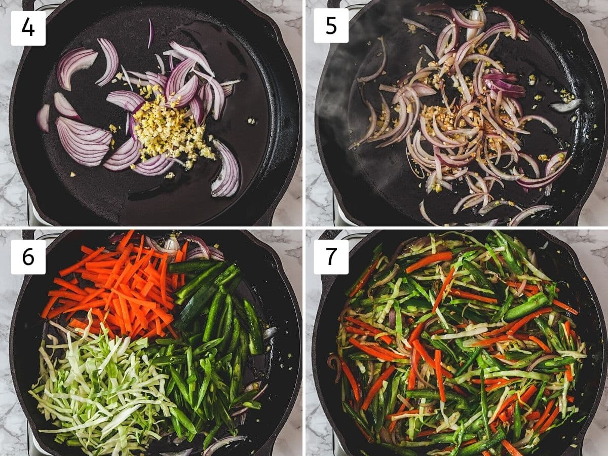 Collage of 4 steps showing adding onion, ginger, garlic, sautéing, adding veggies and cooking.
