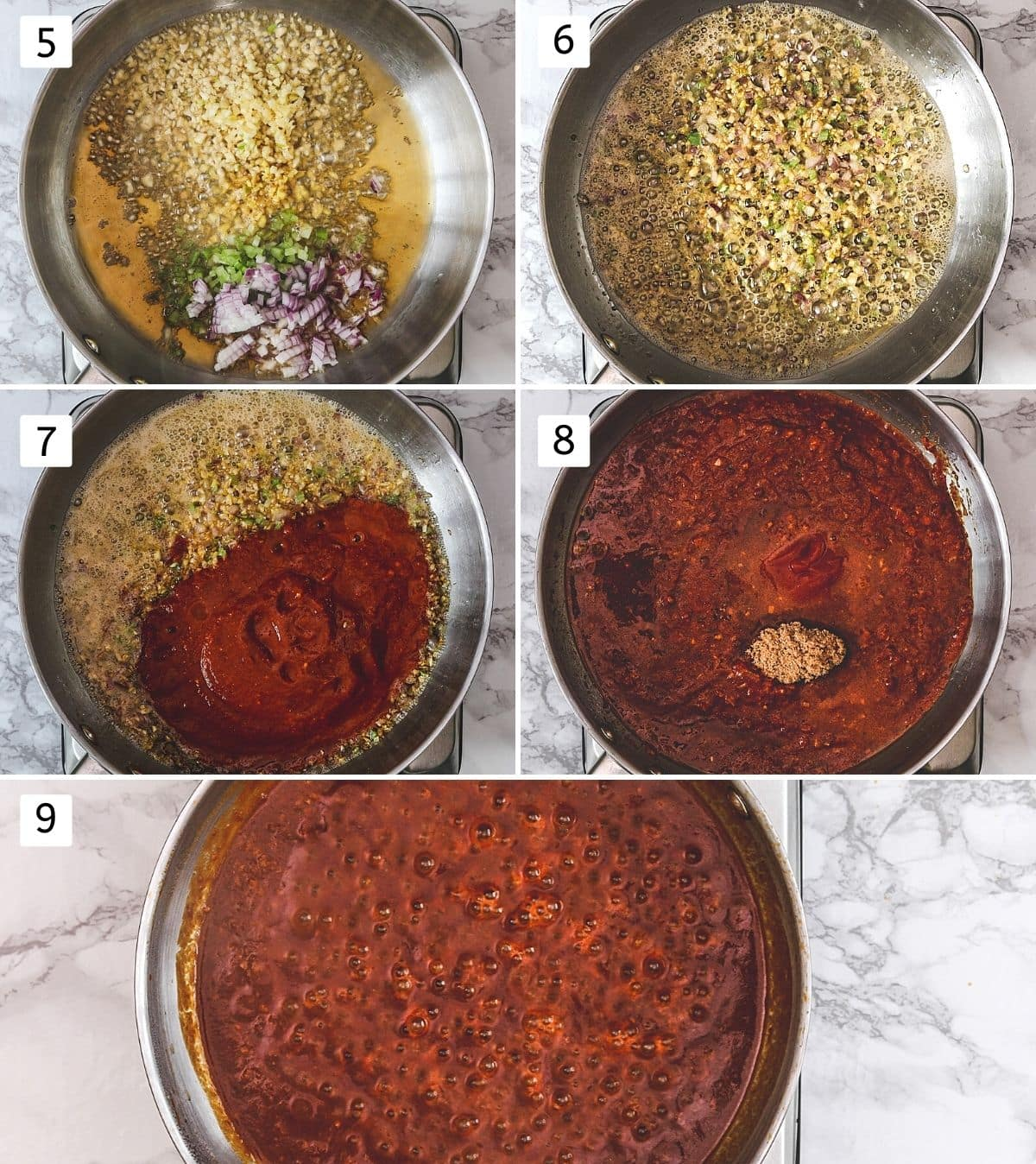 Collage of 5 steps showing adding ginger, garlic, onion, celery, sautéing, adding rest of the ingredients, mixed and simmering.