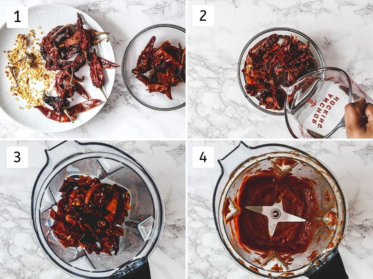 Collage of 4 steps showing removing seeds from chilies, adding boiling water, in the blender and smooth paste.