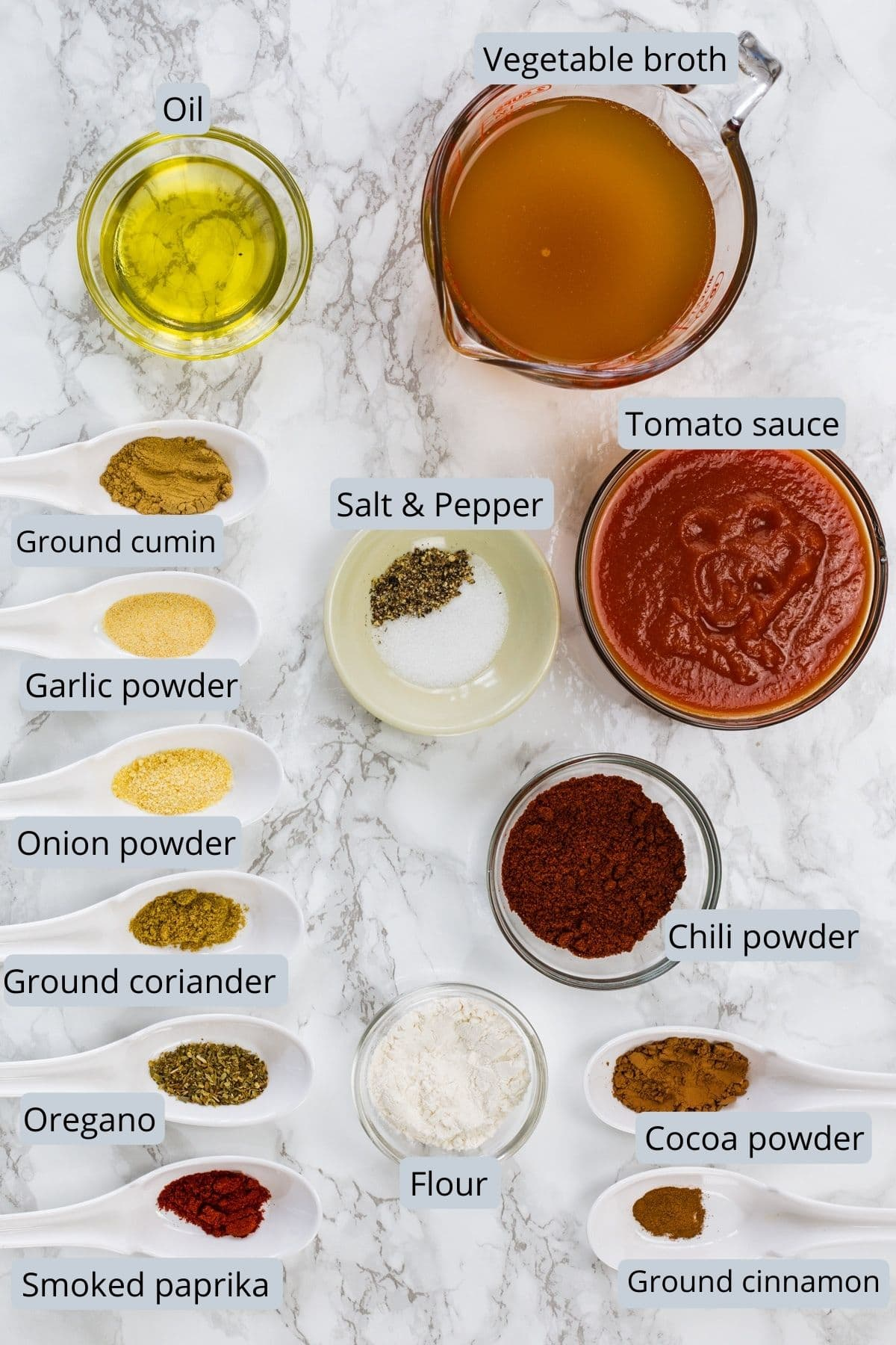 Ingredients used in enchilada sauce removed in individual spoons and bowls