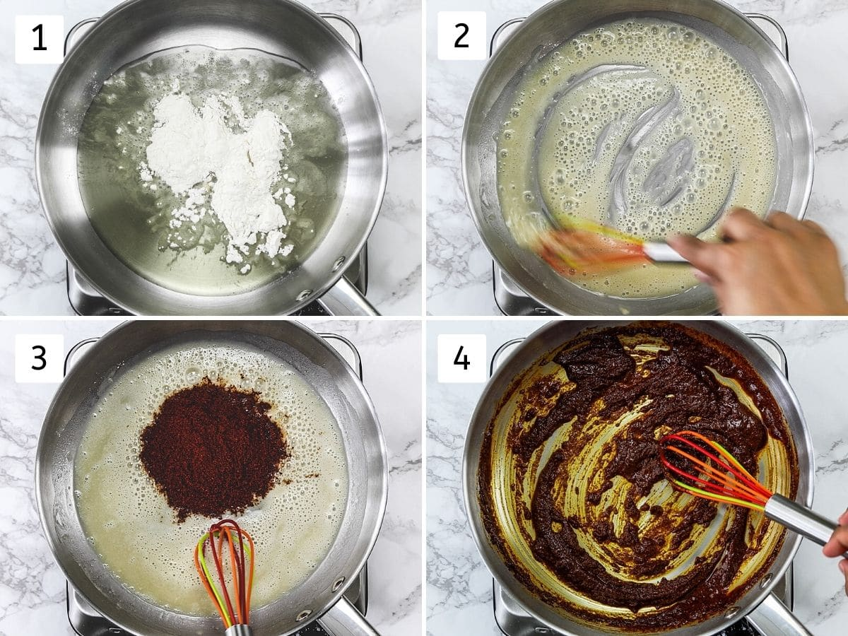 Collage of 4 steps showing cooking flour in oil and adding, cooking chili powder.