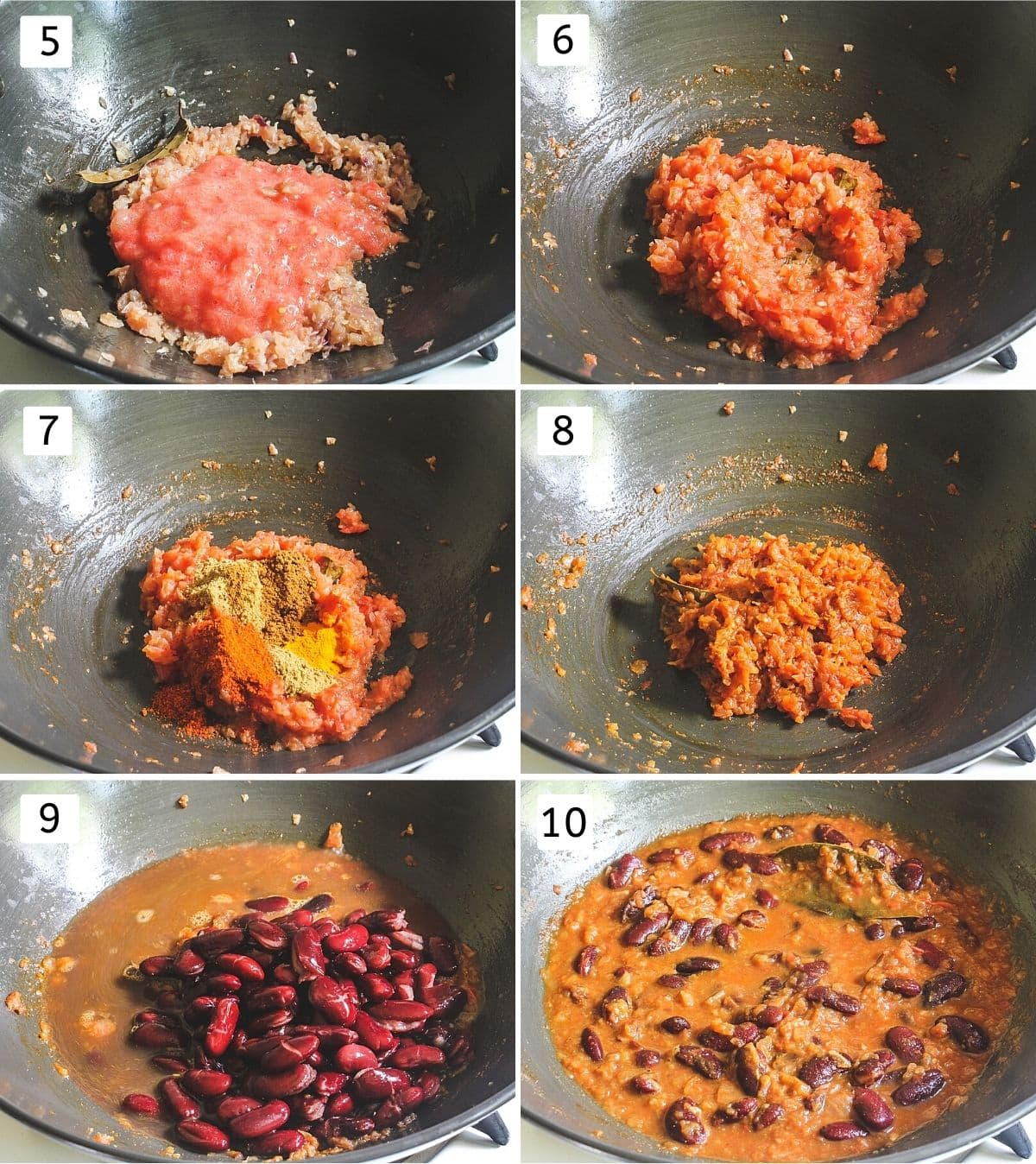 Collage of 6 steps showing cooking tomato puree, adding spices, boiled rajma and simmering.