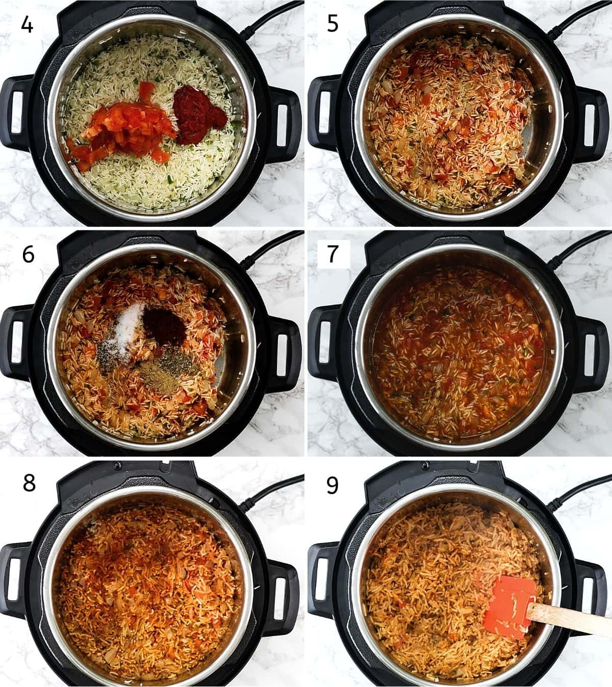 Collage of 6 steps showing adding ingredients into the instant pot and cooked rice.