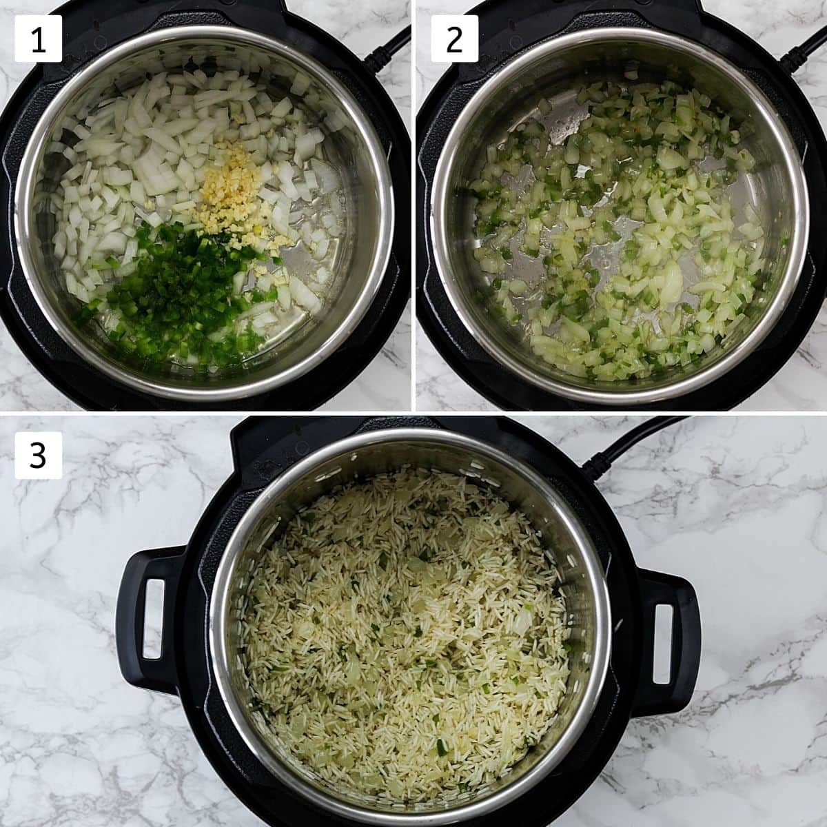 Collage of 3 steps showing sautéing onion, garlic and rice to make mexican rice.
