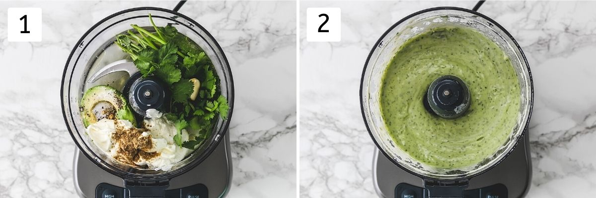 Collage of 2 steps showing dressing ingredients in food processor and blended.