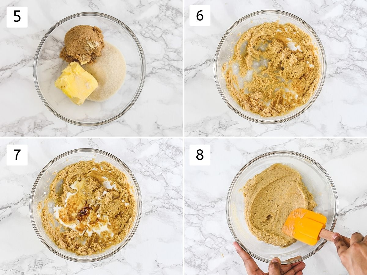 Collage of 4 steps showing creaming butter and sugar, adding and beating rest of the ingredients.