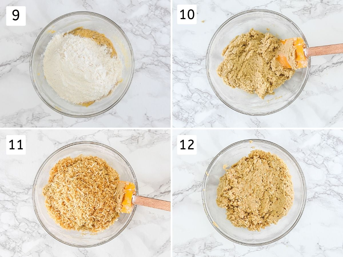 Collage of 4 steps showing adding and folding dry flour mixture and toasted coconut.
