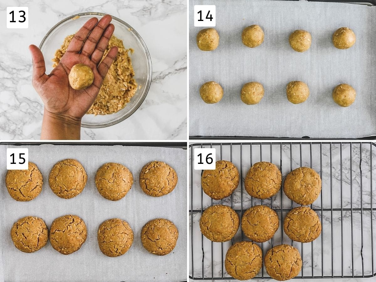 Collage of 4 steps showing rolling cookies, arranged on tray, baked cookies and cooling on the rack.