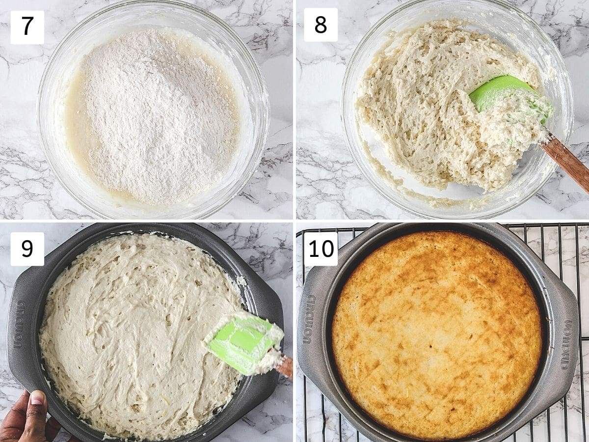 Collage of 4 steps showing making the batter, spread in the cake pan and baked cake.