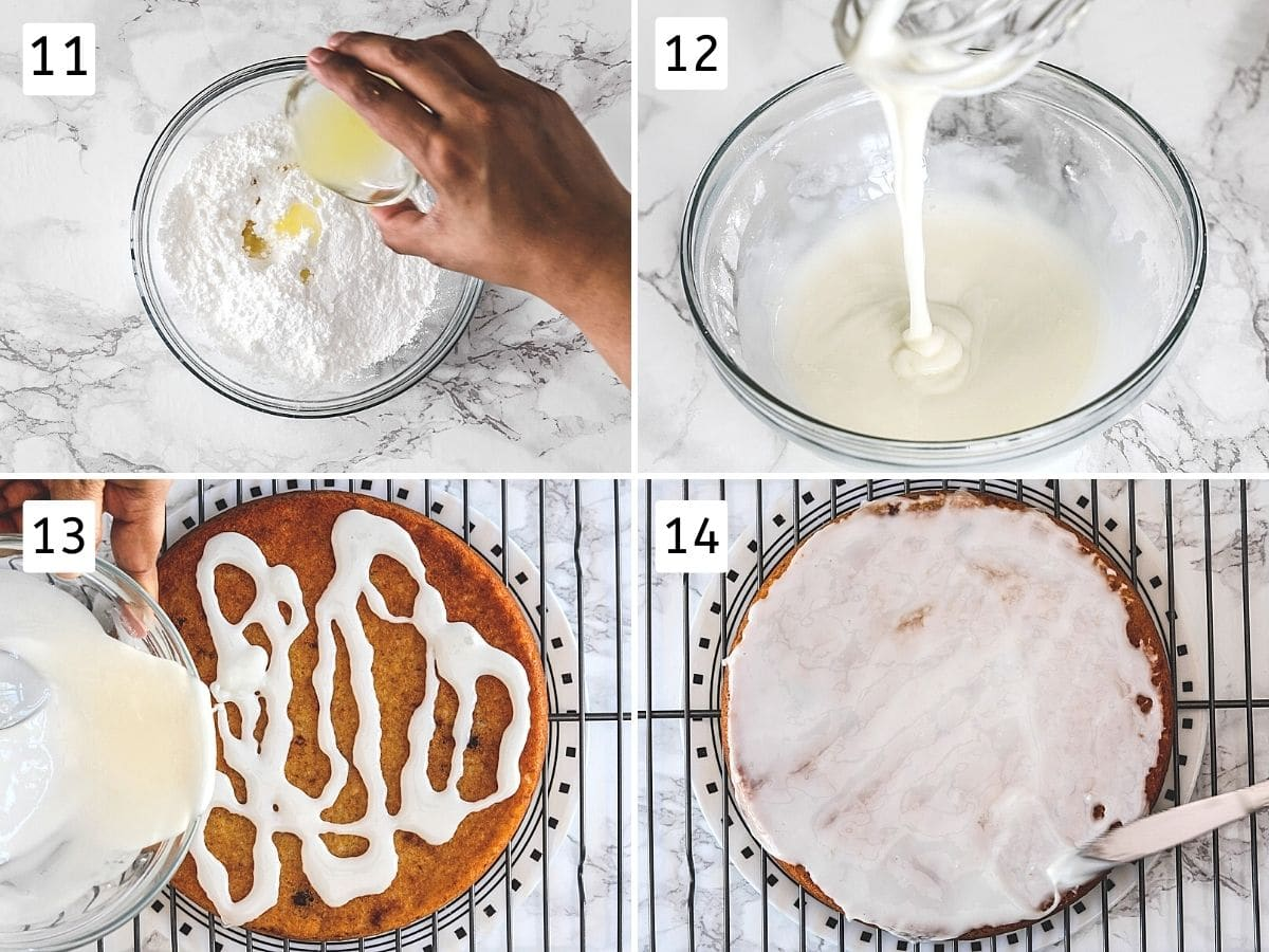 Collage of 4 steps showing making lemon glaze and drizzling, spreading over the cake.