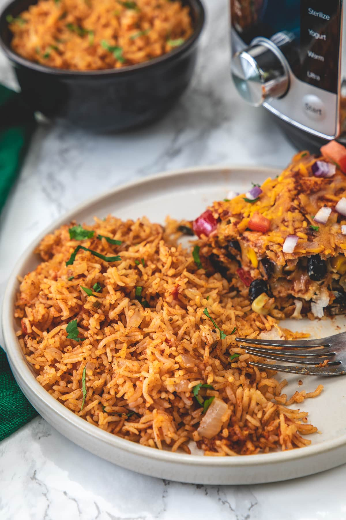 Instant pot mexican rice served in a plate with enchilada casserole.