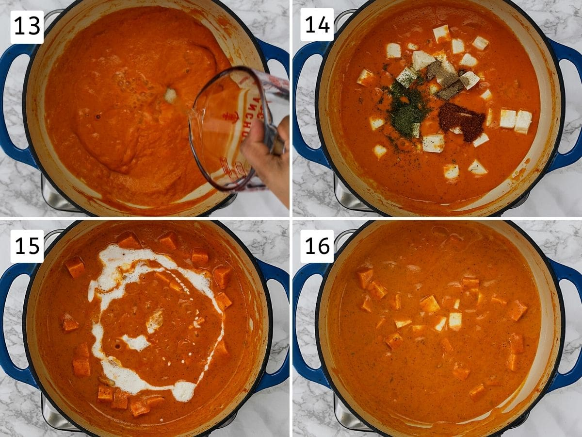 Collage of 4 steps showing adding water, paneer, spices, creamy and mixing into gravy.