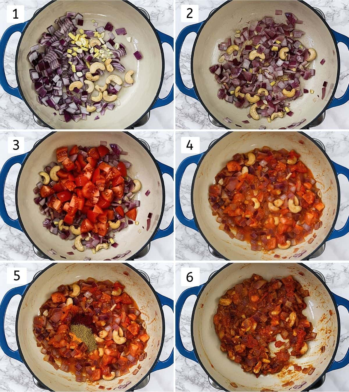 Collage of 6 steps showing cooking onion tomato cashews mixture with spices for gravy.