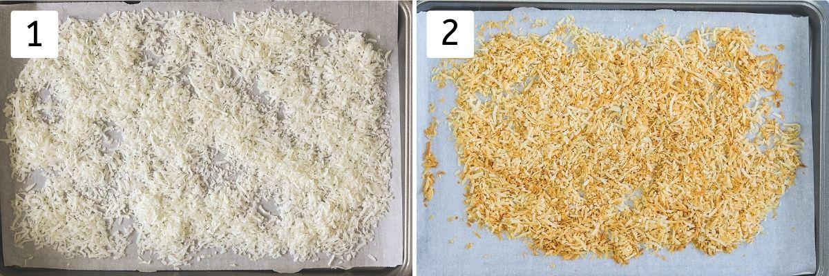 Collage of 2 steps showing coconut flakes on the cookie tray and toasted coconut.