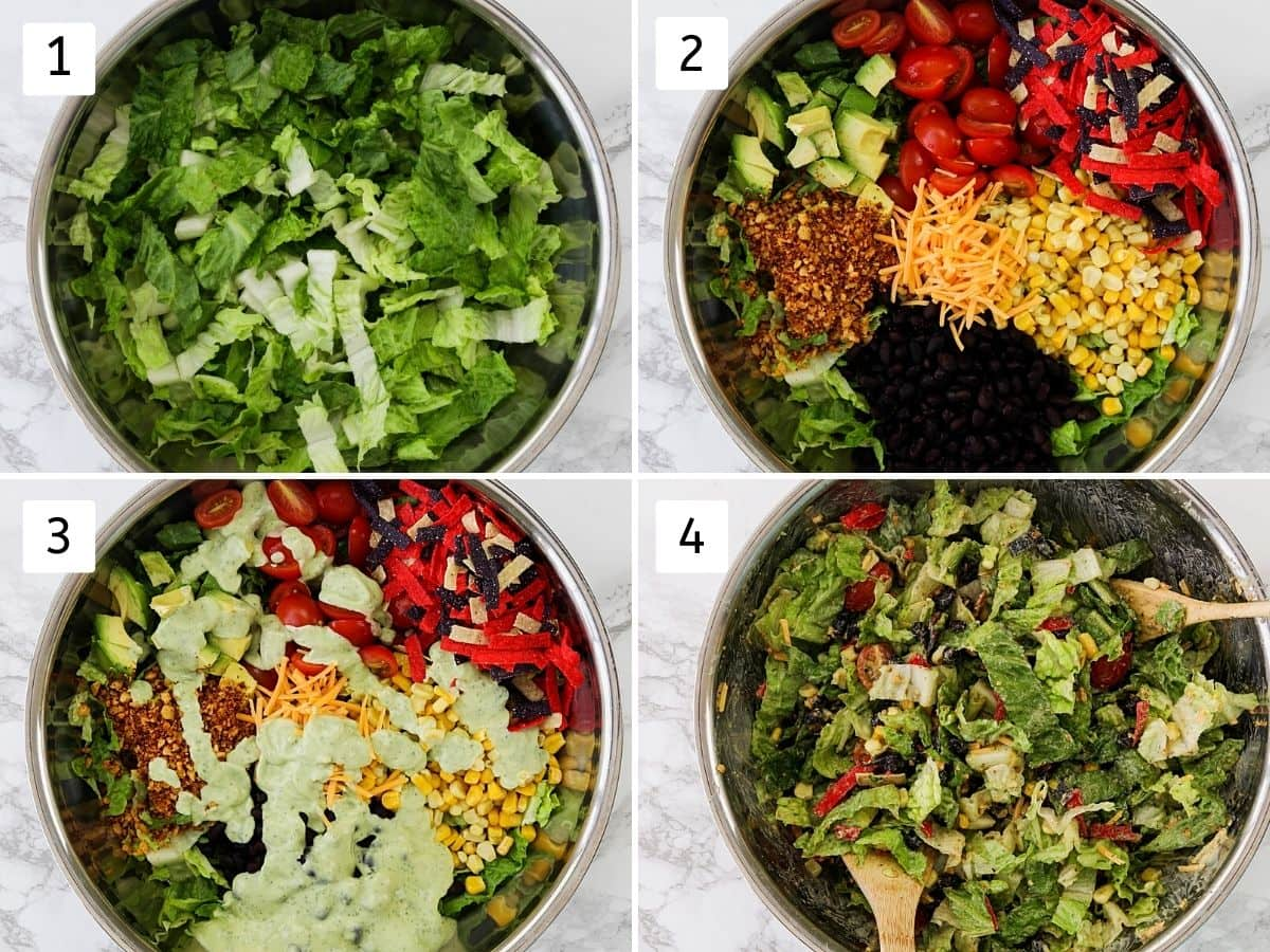 Collage of 5 steps showing the process of making taco salad and tossing all together.